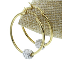 Stainless Steel Hoop Earring, with Rhinestone Clay Pave, gold color plated, 34x39x2mm, 10Pairs/Bag, Sold By Bag