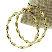 Stainless Steel Hoop Earring, gold color plated, 45x49x3mm, 10Pairs/Bag, Sold By Bag