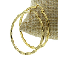 Stainless Steel Hoop Earring, gold color plated, 40x42x2mm, 10Pairs/Bag, Sold By Bag