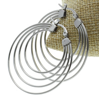 Stainless Steel Hoop Earring, original color, 40x43x2mm, 10Pairs/Bag, Sold By Bag