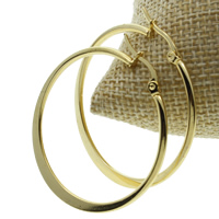 Stainless Steel Hoop Earring, gold color plated, 38x41x2mm, 10Pairs/Bag, Sold By Bag