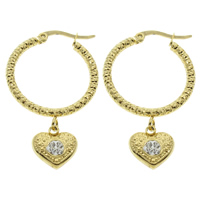 Stainless Steel Hoop Earring, with Rhinestone Clay Pave, Heart, gold color plated, 25x41x6mm, 10Pairs/Bag, Sold By Bag