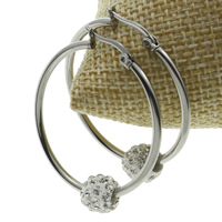 Stainless Steel Hoop Earring, with Rhinestone Clay Pave, original color, 34x38x9mm, Sold By Pair