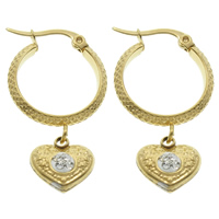 Stainless Steel Hoop Earring, with Rhinestone Clay Pave, Heart, gold color plated, 19x35x6mm, 10Pairs/Bag, Sold By Bag