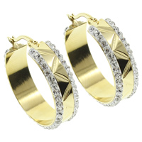 Stainless Steel Hoop Earring, with Rhinestone Clay Pave, gold color plated, 29x30x8mm, 10Pairs/Bag, Sold By Bag