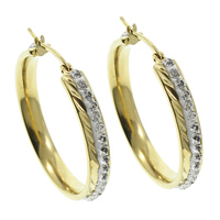 Stainless Steel Hoop Earring, with Rhinestone Clay Pave, gold color plated, 6x38x15mm, 10Pairs/Bag, Sold By Bag