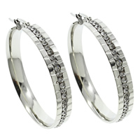 Stainless Steel Hoop Earring, with rhinestone, original color, 40x42x6mm, 10Pairs/Bag, Sold By Bag
