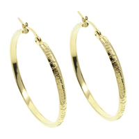 Stainless Steel Hoop Earring, gold color plated, 41x43x3mm, 10Pairs/Bag, Sold By Bag