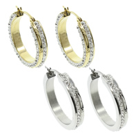 Stainless Steel Hoop Earring, with Rhinestone Clay Pave, plated, more colors for choice, 34x32x6mm, 10Pairs/Bag, Sold By Bag