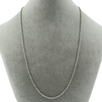 Stainless Steel Necklace Chain rope chain original color 2mm Sold Per Approx 21 Inch Strand