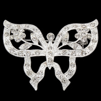 Zinc Alloy Brooches, Butterfly, silver color plated, with rhinestone, lead & cadmium free, 46x34x4mm, Sold By PC
