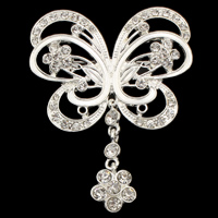Zinc Alloy Brooches, Butterfly, silver color plated, with rhinestone, lead & cadmium free, 48x62x4mm, Sold By PC