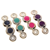 Acrylic Connectors, Flat Round, gold color plated, enamel & 1/1 loop & colorful powder, mixed colors, 67x20x4mm, Hole:Approx 2.5mm, 100PCs/Bag, Sold By Bag