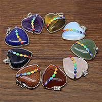 Gemstone Pendants Jewelry with Brass Heart platinum color plated natural   different materials for choice   enamel 35x31mm Hole:Approx 3-5mm