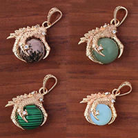 Gemstone Pendants Jewelry with Brass Claw gold color plated natural   different materials for choice   with rhinestone 35x24mm Hole:Approx 3-5mm