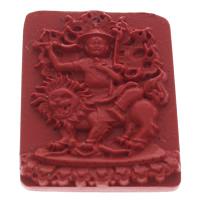 киновари Подвески, Киноварь, Прямоугольная форма, красный, 37x45x7mm, отверстие:Приблизительно 1mm, 10ПК/сумка, продается сумка