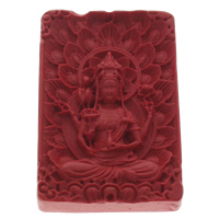 киновари Подвески, Киноварь, Прямоугольная форма, буддийский ювелирных изделий, красный, 36x55x9mm, отверстие:Приблизительно 1mm, 10ПК/сумка, продается сумка