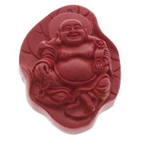 Zawieszki Cinnabar, Cynober, Budda, Buddyjski biżuteria, czerwony, 41x58x18mm, otwór:około 1.5mm, 10komputery/torba, sprzedane przez torba