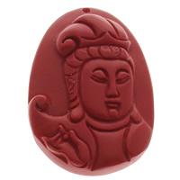 киновари Подвески, Киноварь, Плоская овальная форма, буддийский ювелирных изделий, красный, 38x48x10mm, отверстие:Приблизительно 1mm, 10ПК/сумка, продается сумка