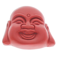 киновари Подвески, Киноварь, Будда, буддийский ювелирных изделий, красный, 43x40x12mm, отверстие:Приблизительно 1mm, 10ПК/сумка, продается сумка