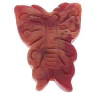 Киноварь бусы, бабочка, красный, 20x29x5mm, отверстие:Приблизительно 1mm, 10ПК/сумка, продается сумка