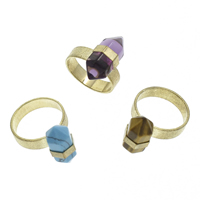 Gemstone Finger Ring with Iron pendulum gold color plated different materials for choice 10x20mm US Ring Size:8 20PCs/Bag