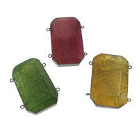 Crackle Agate Connector, with Iron, Rectangle, plumbum black color plated, 2/2 loop, more colors for choice, 40x53x9mm-42x58x11mm, Hole:Approx 2mm, 10PCs/Bag, Sold By Bag