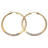 Stainless Steel Hoop Earring, with Rhinestone Clay Pave, gold color plated, 46x47x3mm, 20Pairs/Lot, Sold By Lot