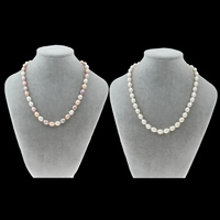 Natural Freshwater Pearl Necklace sterling silver clasp Rice Grade AA 7-8mm Sold Per Approx 16.5 Inch Strand