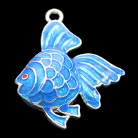 Cloisonne Pendant, Fish, handmade, lead & cadmium free, 22x27x5mm, Hole:Approx 2mm, Sold By PC