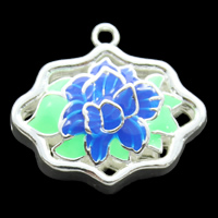 Cloisonne Pendant, Flower, handmade, hollow, lead & cadmium free, 24x22x8mm, Hole:Approx 2mm, Sold By PC
