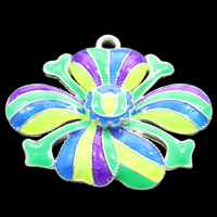 Cloisonne Pendant, Flower, handmade, lead & cadmium free, 33x27x4mm, Hole:Approx 2mm, Sold By PC