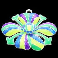 Cloisonne Wisiorek, Kwiat, Ręcznie robione, bez zawartości ołowiu i kadmu, 33x27x4mm, otwór:około 2mm, sprzedane przez PC