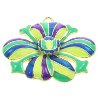 Cloisonne Pendant, Flower, handmade, lead & cadmium free, 33x28x4mm, Hole:Approx 2mm, Sold By PC