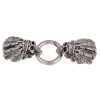 Zinc Alloy Snap Clasp, Skull, antique silver color plated, with end cap, lead & cadmium free, 80x25x16mm, Hole:Approx 7.5x14mm, Sold By PC