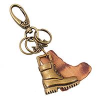 Zinc Alloy Key Chain, with Cowhide, Shoes, antique bronze color plated, 110mm, 20PCs/Lot, Sold By Lot