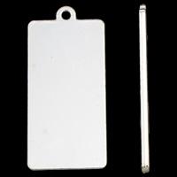 Stop cynku Wisiorek, Prostokąt, Platerowane w kolorze srebra, bez zawartości ołowiu i kadmu, 18x40x1.50mm, otwór:około 1mm, 20komputery/torba, sprzedane przez torba