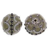 Индонезия бусины, цинковый сплав, с Индонезия, Цилиндрическая форма, плакированный цветом под старое серебро, со стразами, не содержит свинец и кадмий, 20x22mm, отверстие:Приблизительно 2mm, продается PC