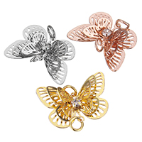 Brass Jewelry Connector, Butterfly, plated, high quality plating and never fade & with rhinestone & 1/1 loop & hollow, more colors for choice, nickel, lead & cadmium free, 24x16x5mm, Hole:Approx 3mm, 50PCs/Lot, Sold By Lot