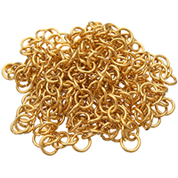 Stainless Steel Rolo Chain, gold color plated, round link chain, 5x0.80mm, 20m/Bag, Sold By Bag