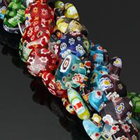 Murano Millefiori Lampwork Koralik, Serce, Ręcznie robione, różnej wielkości do wyboru, dostępnych więcej kolorów, otwór:około 1mm, długość:około 15.5 cal, sprzedane przez wiele
