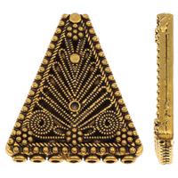 Zinklegering Sieraden Kralen, Zinc Alloy, Driehoek, antiek goud plated, multihole, lood en cadmium vrij, 33x38x5mm, Gat:Ca 2mm, Verkocht door PC