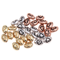 Zinc Alloy Jewelry Beads Oval plated with heart pattern lead   cadmium free 8x6x4mm Hole:Approx 1mm Approx 140PCs/Bag