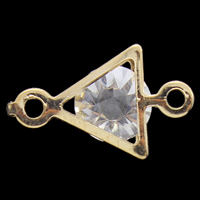 Металлические коннекторы , Железо, с Акрил, Треугольник, плакирован золотом, граненый & 1/1 петля, не содержит свинец и кадмий, 17x10x6mm, отверстие:Приблизительно 1mm, 200ПК/сумка, продается сумка