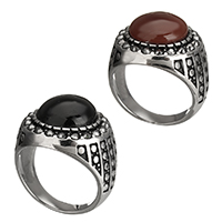 Gemstone Stainless Steel Finger Ring with Agate natural different materials for choice blacken 18mm 10PCs/Lot