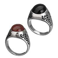Gemstone Stainless Steel Finger Ring with Agate natural different materials for choice blacken 14.50mm 10PCs/Lot