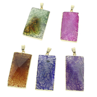Lace Agate Pendants, Crackle Agate, with iron bail, Rectangle, gold color plated, more colors for choice, 20x44x11mm-21x45x12mm, Hole:Approx 4x5mm, 10PCs/Bag, Sold By Bag