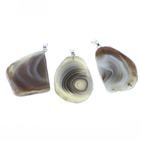 Lace Agate Pendants, with iron bail, Nuggets, platinum color plated, red, 29x35x8mm-35x42x9mm, Hole:Approx 4x5mm, 10PCs/Bag, Sold By Bag