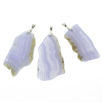 Lace Agate Pendants, with iron bail, Nuggets, platinum color plated, dutch blue, 25x45x5mm-35x60x6mm, Hole:Approx 4x5mm, 10PCs/Bag, Sold By Bag