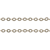 Brass Oval Chain, platinum color plated, nickel, lead & cadmium free, 2.40x1.90x0.10mm, 100m/Lot, Sold By Lot